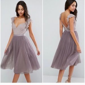Needle and thread swan midi tulle dress